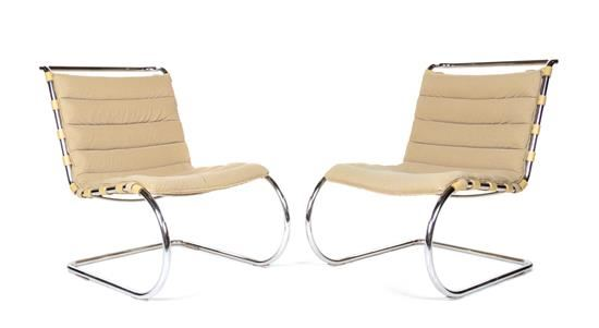Ludwig Mies Van Der Rohe Pair Of Mr20 Lounge Chairs Mutualart