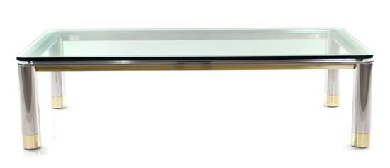 Artwork By Karl Springer, Coffee Table, Made Of Chrome Plated Steel,  Lacquered