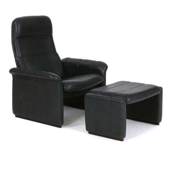Brilliant Sede De Easy Chair And Stool With Black Leather Mutualart Inzonedesignstudio Interior Chair Design Inzonedesignstudiocom
