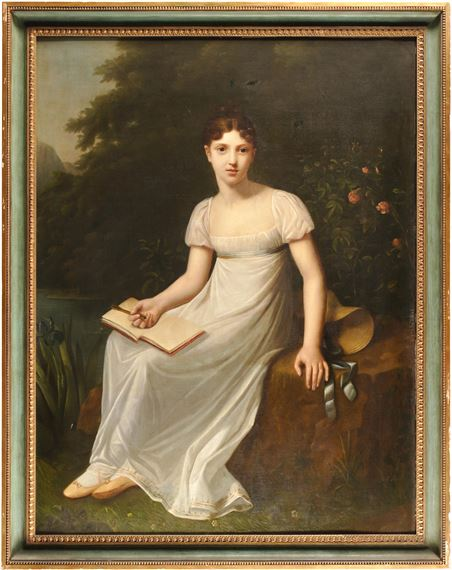 Prud Hon Pierre Paul A Portrait Of A Young Girl Holding A