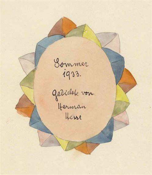 Hesse Hermann Sommer 1933 Gedicht Von Herman Hesse 1933