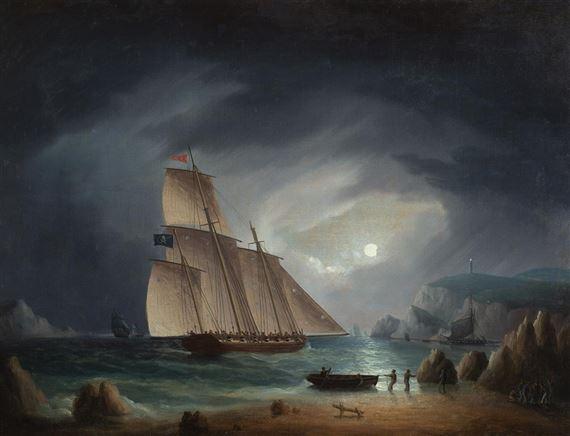 Buttersworth Thomas | Pirate Schooner in Moonlight | MutualArt