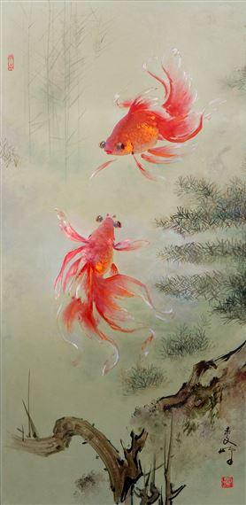Lee Manfong Two Goldfish Ikan Mas Koki Mutualart