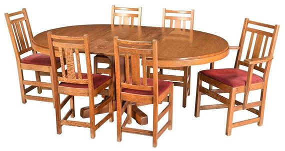 Lambert S Arts And Crafts Dining Table And Chairs Mutualart
