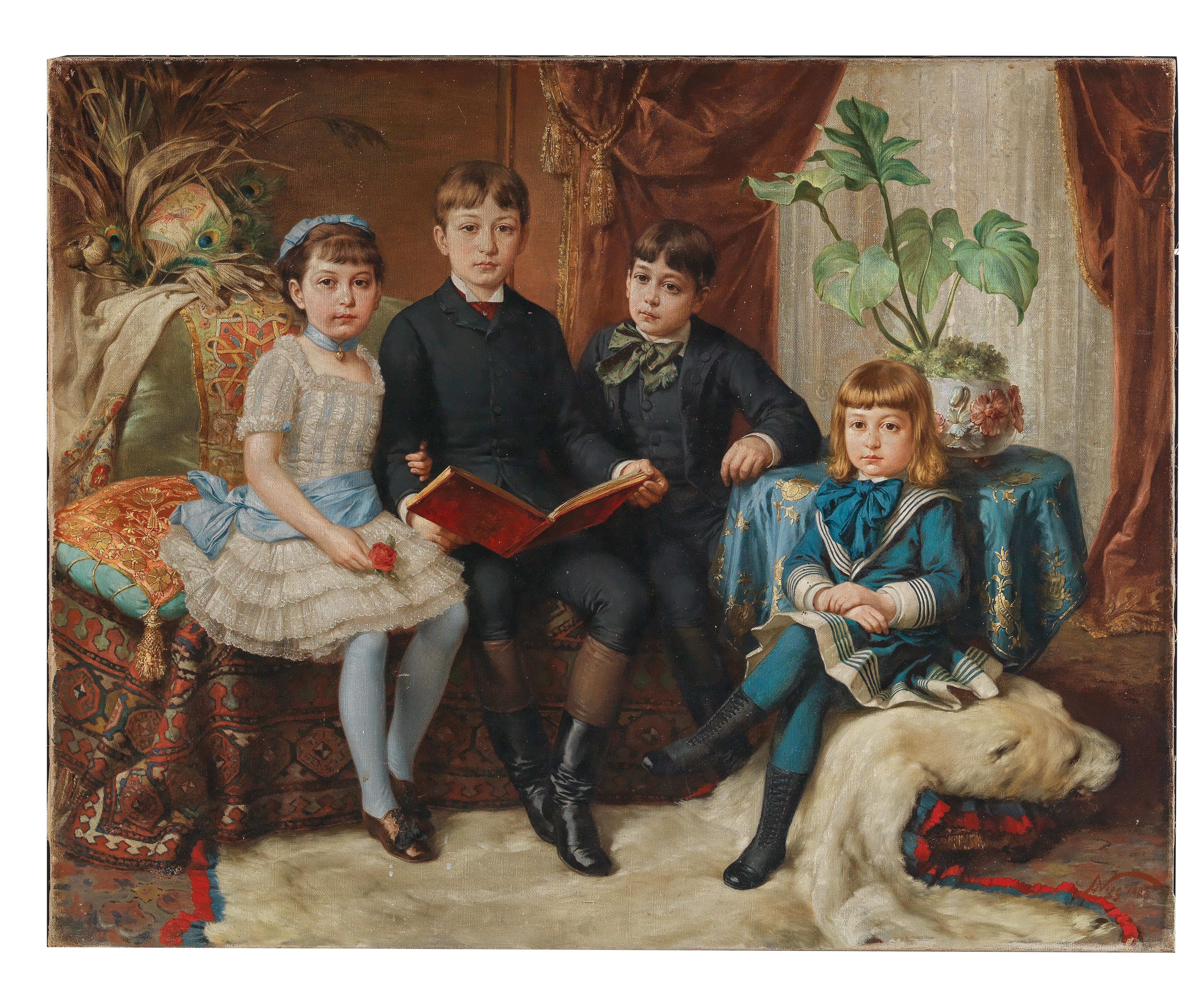 Four Siblings on a Polar Bear Skin Rug