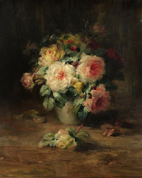 Artwork by Henri Biva, Vase de pivoines, Made of Oil on canvas