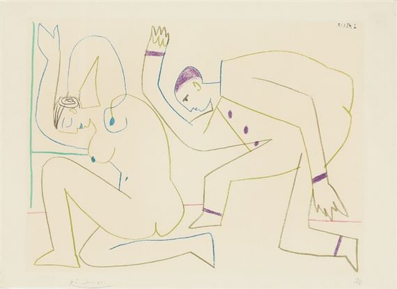 "Artwork by Pablo Picasso, ""La comedie humaine"", Made of Lithograph in colours"