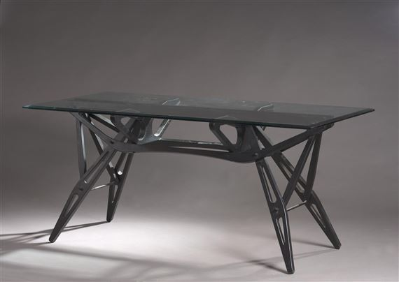 """Artwork by Carlo Mollino, Table, model """"Reale"""", Made of rectangular white glass top and bevelled edge"""