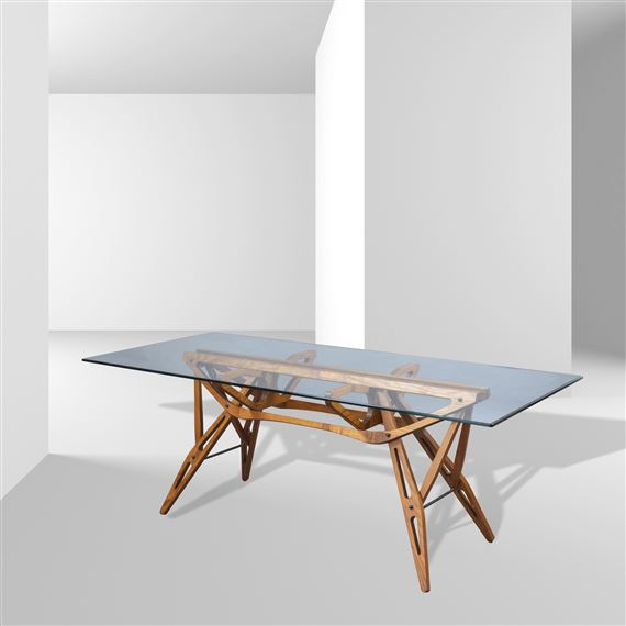Artwork by Carlo Mollino, table mod. Real, Made of wood and crystal