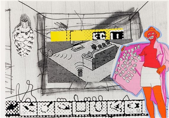 Artwork by Sigmar Polke, FILMVERFÜHRUNG, Made of Color silkscreen on light Schoellershammer cardboard