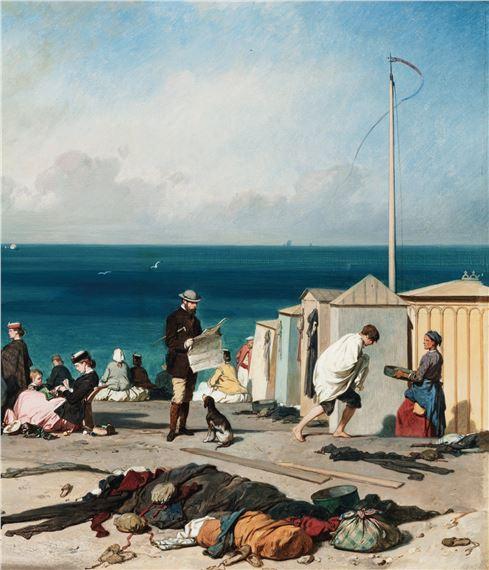 Eugène LePoittevin   BATHING IN ETRETAT (1864)   MutualArt