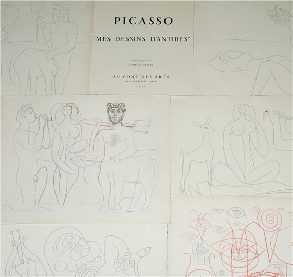 Artwork by Pablo Picasso, Sixteen works: My drawings of Antibes, Made of Album containing sixteen plates reproducing Antibes's drawings