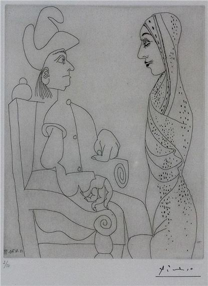 Artwork by Pablo Picasso, Conquistador et femme marocaine 12 Avril 1970 III, Made of Etching on vellum paper