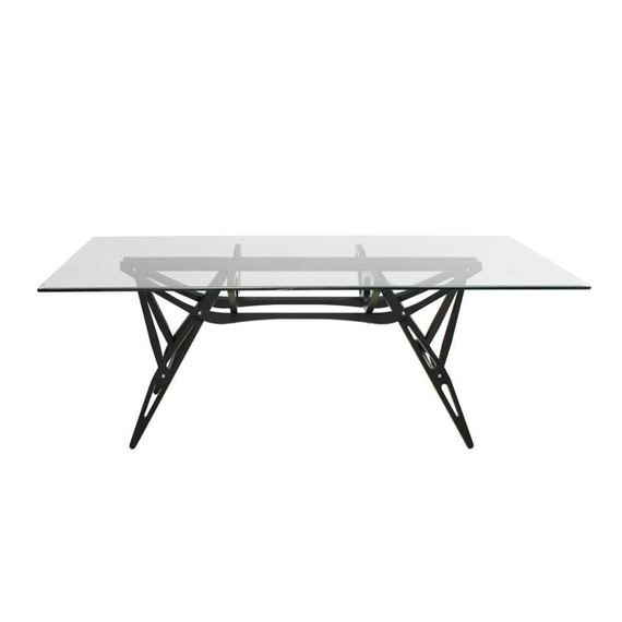 Artwork by Carlo Mollino, Reale Dining Table, Made of bevelled clear glass top raised above black painted oak base